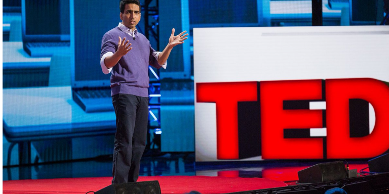 Sal Khan while speaking during Ted Talk