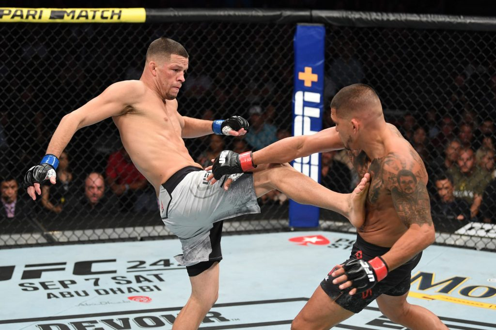 Nate Diaz fighting in a ring.
