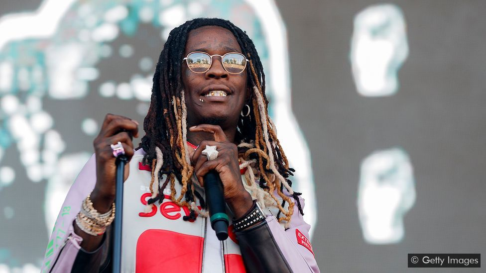 Young Thug performing in a stage